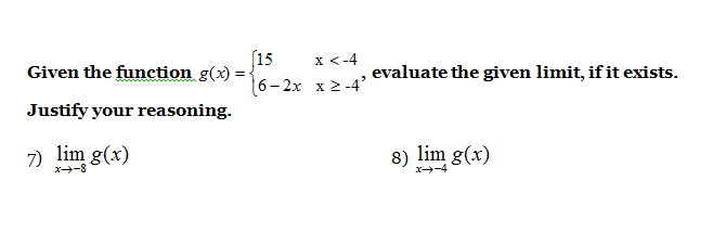 Evaluate Limits Of The Given Function Mathskey Com